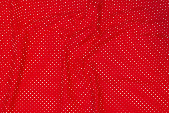 Red cotton-jersey with white 2 mm mini-dots