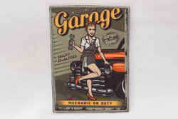 Retro pin-up patch, garage 6 x 8 cm