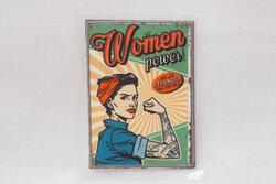 Retro pin-up patch, woman power 6 x 8 cm