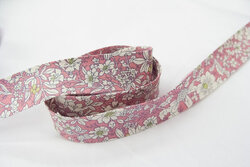 Bias tape, old rose with flowers 2 cm