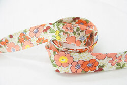 Bias tape, white with coral and red flowers 2 cm