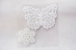 White butterfly patch and flower