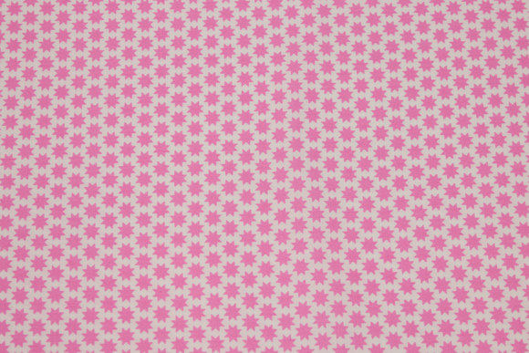White, woven cotton with small 1 cm pink stars