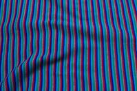 Blue-turqoise-green-grey-red rib-fabric, across-striped.