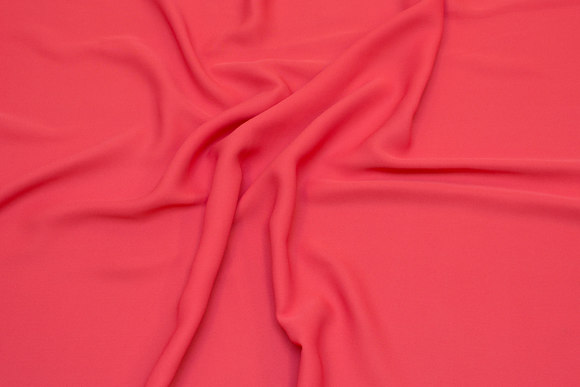 Lightweight micro crepe de chine in coral-color