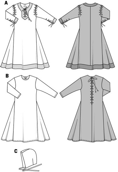 History gowns for Medieval festivals. Side godets provide extra fullness at the bottom hem of these floor-length gowns. View A: contrasting colors of the facings. Front slit and sleeve vents fastened with cord lacets, sleeves attached to the dress with a cord tie. View B: rearward lace fastening. Bonnet C completes the look.