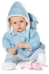 Well equipped to fight the cold season. Jumpsuit with hooded jacket and zip-fastener. The jumpsuit with sophisticated gloves to slip on has got stitched-on feet. Jacket B to be worn either separately or combined with the foot-muff with Velcro tape to hold jacket and foot-muff closed. And finally there are the separate pants with elastic waistband. All pieces laid on the double with contrasting fabric.