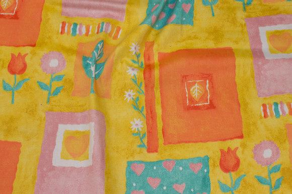 Cotton satin in retro-stil in yellow, orange, purple and turqoise