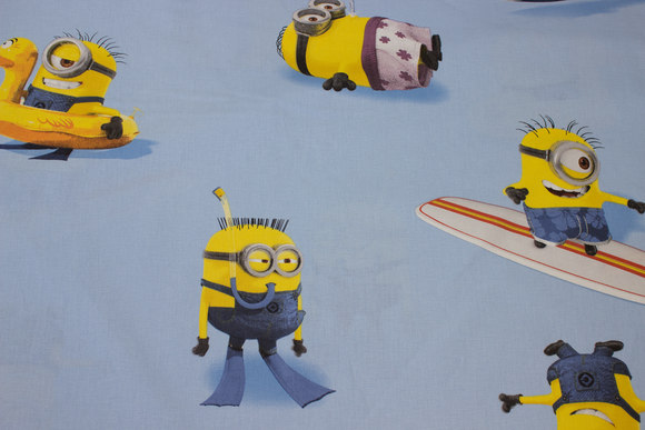 Light blue, firm cotton with Minions