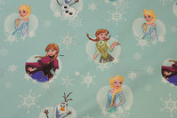 Mint-green firm cotton with Anna, Elsa and Oluf.