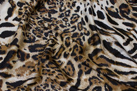 Polyester stretch-satin with animal-print