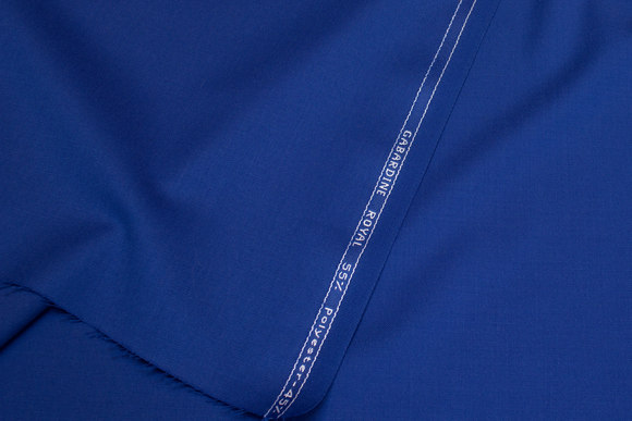 Wool and polyester gabardine in royal-blue