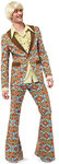"The Seventies are a most popular motto for theme parties, not only in the Carnival season. This suit is a perfect outfit for ""him"", consisting of a jacket, a ruffled shirt and bell-bottoms. Striking prints and colors make heads turn."