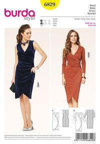 Burda 6829. Jersey Dress, Wrap-Effect, Gathered Side.