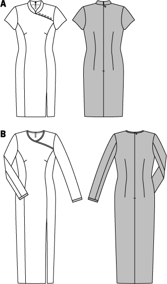 The front section seams emphasize the slender silhouette of this dress. Version A with mandarin collar and fancy loop closure appears in the trendy Asia-look. Contrast satin edges of B set special accents. The walking slit to one side of both dresses guarantees sufficient ease of movement.