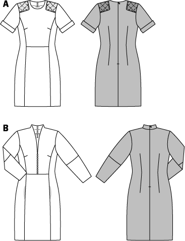 Smart casual dresses for various occasions. Sporty details of variant A with short sleeves are the stitched shoulder patches from imitation leather. Version B with notched mandarin collar and pockets in the front panel seams. Embellishing details are the many little buttons and also the slight leg-of-mutton sleeves.