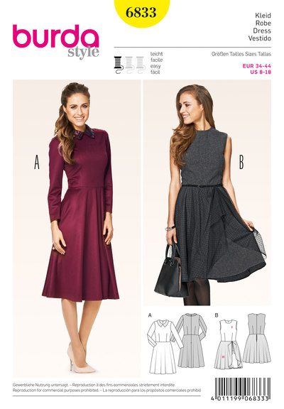 Dress, Waist Seam, Bell-Shaped Skirt