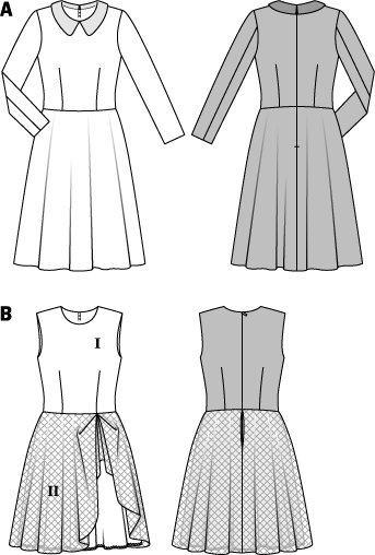 Emphasized waists like of this retro-style dress are in vogue again. The form-fitting bodice combined with a full flared and swingy skirt are striking elements. The collar of variant A is made of fancy fabric. Variant B with its mix of wool and tulle overskirt is an exciting interpretation.