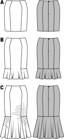 Three different skirt shapes - varying lengths and effects. Skirt A is the short, classic variant for every day. Accentuated, feminine touch of variants B and C with their hem flounces. C is also suited for business with its tiny pinstripes.
