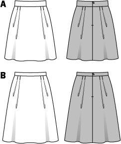 Young, swinging skirts with 4 tiny folds each in the front and the back. The folds are top-stitched to prevent them being bulky. A short variant with broad waistband, a longer variant with small waistband. Floral designs are in vogue, particularly coming into their own with this style.