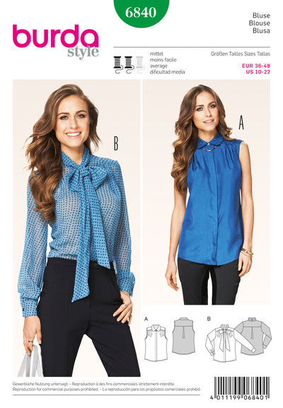 Blouse, Concealed Buttonhole Band, Collar with Bow-Tie