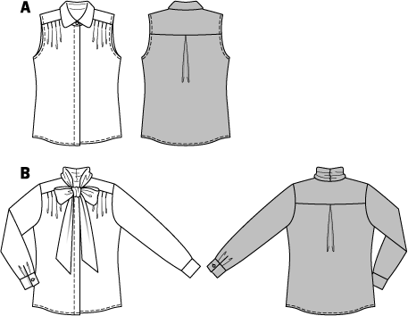 Feminine blouses for various occasions, nicely to mix and match. Sleeveless and with collar or with long sleeves and bow-tie. Both variants with concealed buttonhole bands and with four short-stitched tiny front folds, held in place by the shoulder yokes.