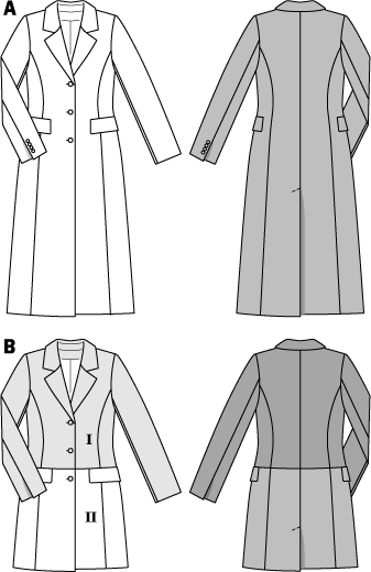 A classy piece of fashion and certainly your favorite companion for many seasons to come. Slimline sporty coat A, with flap pockets, lapel and rear walking slit. The cross seam below the waist with integrated pockets allows different colors and materials to be featured.