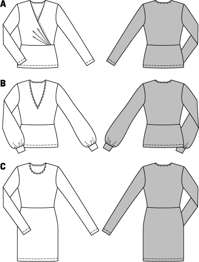 Bi-elastic jersey ensures a very feminine look, flattering your curves and provides absolute wearing ease. The wrapped variant A has three tiny folds on the right front only, the underlap stays smooth. The V-neck of shirt B has a slimming effect, the bunched cuff sleeves act as a counterbalance. The plain dress C sets fashionable accents with its prints.
