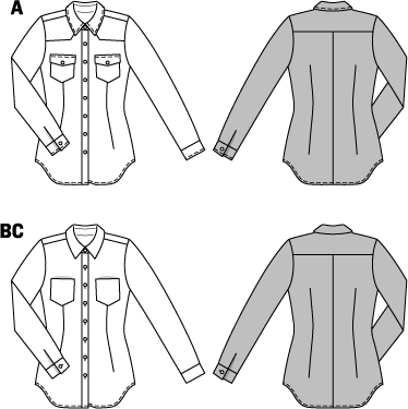 Three young blouses ensure a plain, clean look. Variant  A is a denim shirt with flap pockets and snap fasteners. Variants B and C combine all the attributes of a classy blouse. Create your favorite look: play on contrasts with trendy prints or choose a solid color.