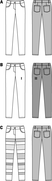 Three tight-fitting, denim-style pants. The complete rear part of variant B is made of a different, but necessarily stretchy material, too. For the stitched-on front facings of pants C, you can use stretchy imitation leather, for instance, of different coatings.