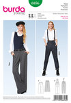 Burda 6856. Pants with waistband pleats, Marlene-Dietrich-Pants, Braces.