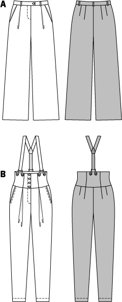 Pants for a customized look. The Marlene-Dietrich-style pants are an amazing classic. Pants B with tapered legs, high waist, broad, shaped waistband and button-on braces - as much as your courage desires. Both variants with waistband pleats and hip-yoke pockets.