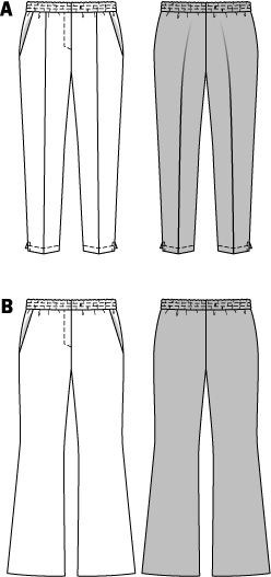 Comfortable pull-on pants with hip yoke pockets - popular and versatile to combine at will. Pants A with narrowly cut legs and small slits. Pants B with full and a little flared legs.