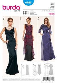Burda 6866. Evening Dress, Overdress, translucent.