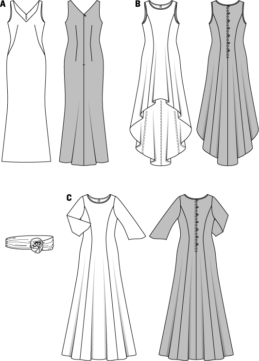 Elegant evening gowns with nice front and rear décolletés, form-fitting shapes, slightly flared towards the hem. Each of them an eye-catcher. Translucent overdresses, either sleeveless or with ¾ sleeves, give them a premium touch. Make the test! Belts with ornamental roses cut from the same fabric accentuate the waist.