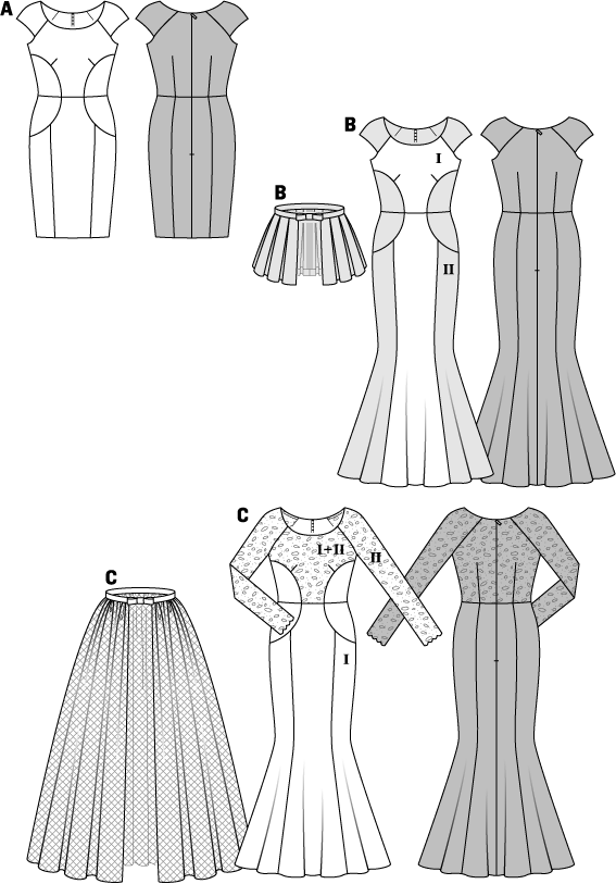 Distinctive dress variants with striking seam lines, three different interpretations. Dress A: the exclusive design with rounded waist inserts captivates at second glance only. B is highlighted by its contrasting colors, the short, separate peplum emphasizes the hips. Wedding gown C with narrow lace sleeves gets a long, bulky overskirt made of tulle, which you can simply take off, if required.