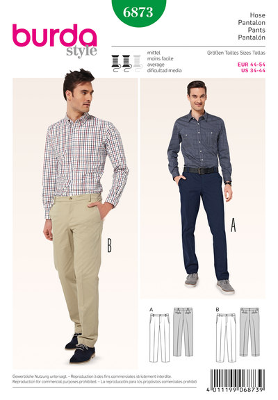Men's Pants: flat front, slim fit