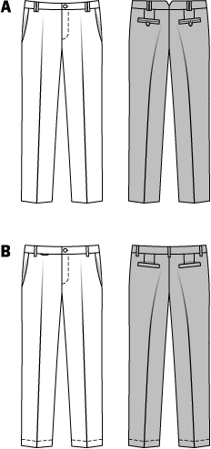 Pants with popular flat front, slant pockets, back pockets and - if required - small coin pocket, in classic blue and beige or - for the more fashion-conscious ones - in trendy seasonal colors and of cotton. The rear part of the waistband of variant A is divided in the middle and requires little more sewing experience.