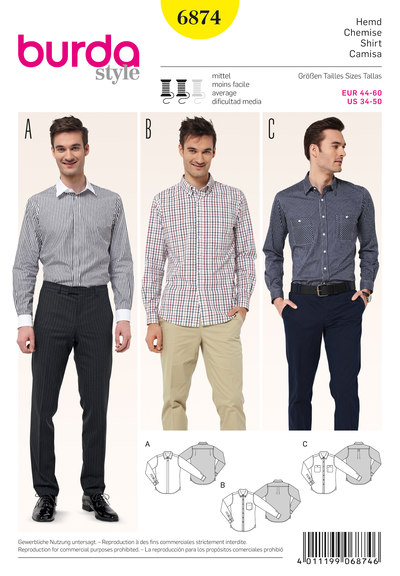 Men's Shirt, various collar solutions