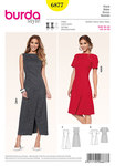 Burda 6877. Dress, Wrap-effect, Interesting seam lines.