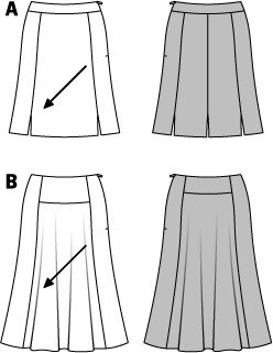 Seven, slightly flared gores of variant A with shaped waistband softly play around the knees. Small slits set interesting accents. The calf-length variant B gets its swing from the well flared skirt panels. The oblique cut of both variants provides the nice drape.