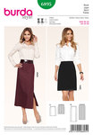 """The narrow skirt, short or long, is one of the """"key-pieces"""" for a self-confident, feminine appearance. Side panel seams and a concealed walking slit, A in the back, B in the front to one side, are the components. The sewn-in lining ensures a perfect fit, free from creases."""