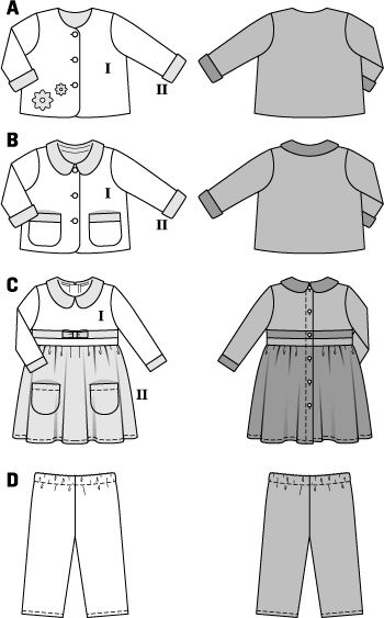 Smart coordinates for little girls and boys. Three different variants of jackets, doubled with contrast fabric. Cute, matching dress with added skirt, Peter Pan collar and rearward buttoning. The pull-on pants with elasticated waistband fit boys and girls.
