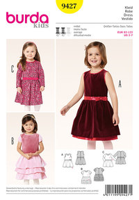 Burda 9427. Dress with Gathered or Tiered Skirt.