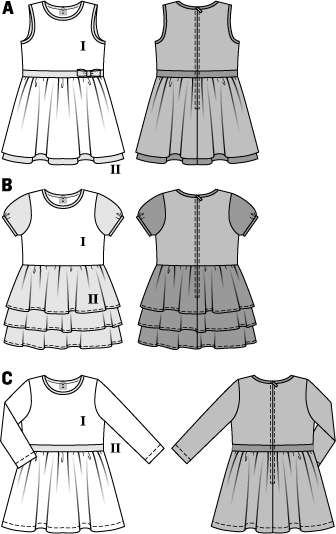 Smart and - depending on the choice of fabric - dressy pieces for festive occasions. Sleeveless variant A, dress C with long sleeves, both with gathered skirt. All variants are sewn from two contrast fabrics: the longer petticoat of variant A and the tiered skirt and tiny puff sleeves of variant B.