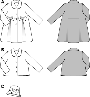 Short jacket with Peter Pan collar or little coat with loops: just add the lower front pieces with box pleats and the lower back piece to make the jacket turn into a coat. Matching hat with loop of the same fabric.