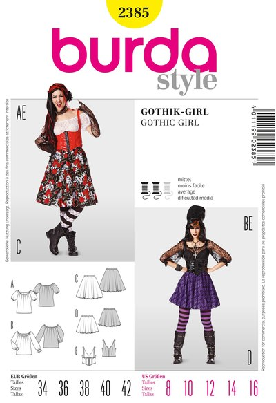 Gothic Girl, Gypsy Blouse, Swingy Skirt, Corset