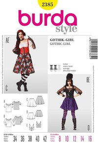 Gothic Girl, Gypsy Blouse, Swingy Skirt, Corset. Burda 2385.