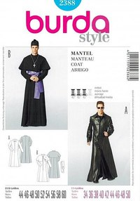 Long trench coat or pastors coat. Burda 2388.