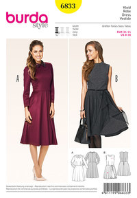 Dress, Waist Seam, Bell-Shaped Skirt. Burda 6833.